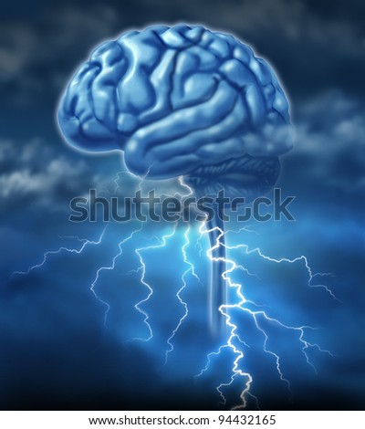 Brainstorm and brainstorming inspiration concept with a brain and a lightning storm as a symbol of creativity and the creative power of human ideas and creation of innovative inventions. - stock photo