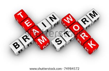 brainstorm and teamwork - stock photo