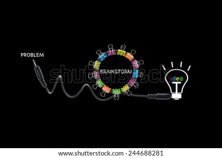 Brainstorm concept creative modern design on black background,business concept - stock photo