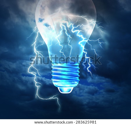 Brainstorm creative idea concept or brainstorming symbol as a lightning bolt from the sky shaped as a human head with a lightbulb image as a metaphor to conceptualize and conceive solutions. - stock photo