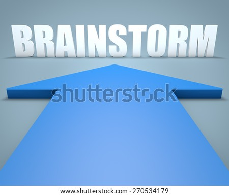 Brainstorm - 3d render concept of blue arrow pointing to text. - stock photo