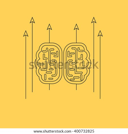Brainstorm design concept. Brainstorm and brain, idea thinking, mind map, creative innovation, brain icon, brain power, business brainstorming, strategy brainstorm, process brainstorm thin line - stock photo