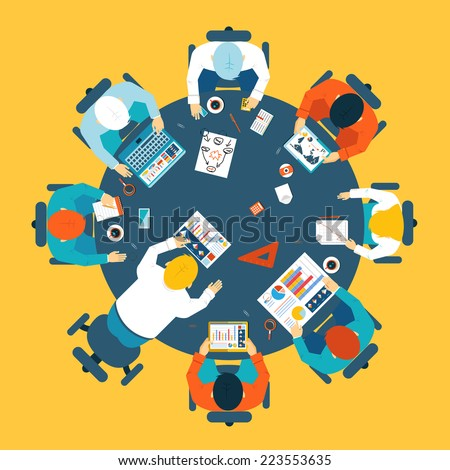 Brainstorming and teamwork concept with a broup of busdinessman having a meeting around a round table sharing ideas and problem solving  overhead view illustration - stock photo