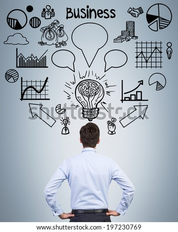 Brainstorming. Businessman and ideas. - stock photo