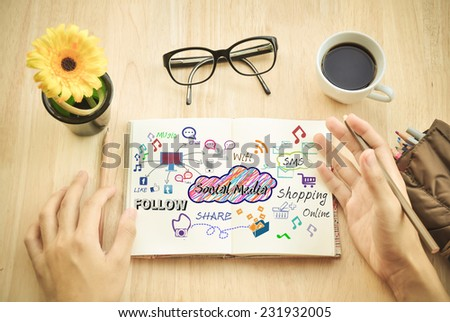 Brainstorming develop idea About topic social media and design in coffee shop. - stock photo