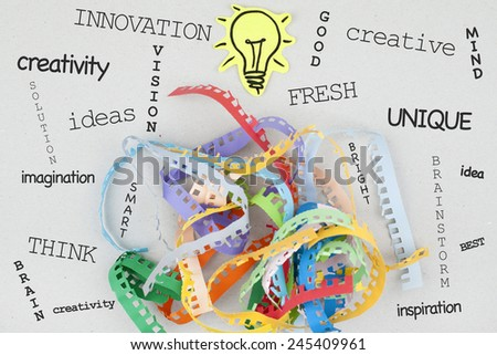 Brainstorming Innovation Creativity Concept Background Word Cloud - stock photo