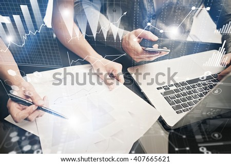 Brainstorming meeting concept.Businessmans crew working investment project modern office.Using contemporary laptop. Worldwide connection technology, stock exchanges graphics interface. Horizontal - stock photo