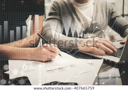 Brainstorming meeting concept.Businessmans crew working investment project modern office.Using contemporary laptop. Worldwide connection technology icons,stock exchanges graphics interface. Horizontal - stock photo