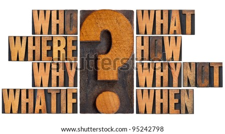 brainstorming or decision making concept - who, what, where, when, why, how, whatif and why not questions - a collage of isolated words in vintage letterpress wood type - stock photo