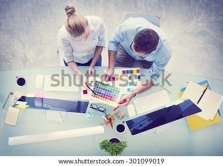 Brainstorming Planning Partnership Strategy Workstation Administration Concept - stock photo