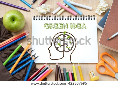 Brainstorming with Green idea creative concept. - stock photo