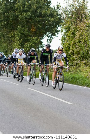 BRAINTREE UK - SEPTEMBER 10: Tour of Britain Cycle Race - The main peleton during the Essex Stage, Braintree, Essex, September 10, 2008 - stock photo