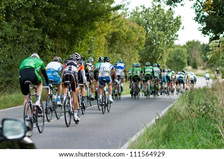 BRAINTREE UK - SEPTEMBER 10: Tour of Britain Cycle Race - The main peleton during theEssex Stage, Braintree, Essex, September 10, 2008 - stock photo