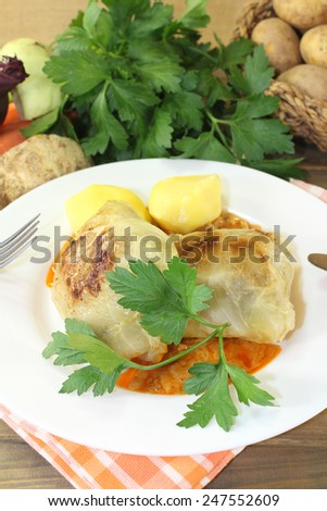 braised cabbage rolls with potatoes and parsley - stock photo
