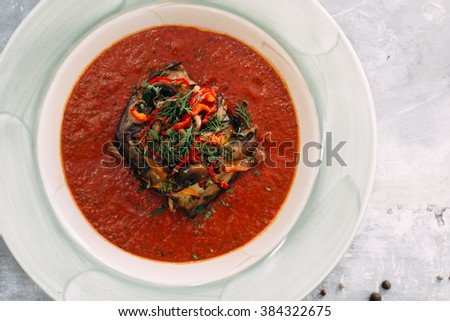 braised eggplant in tomato sauce