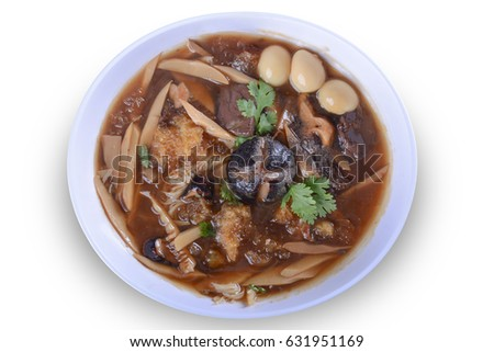 Braised Fish Maw in Red Gravy with crab in bowl on white background. on white bowl for Thai food and with clipping path