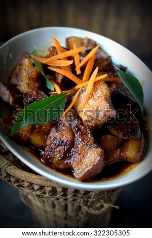 braised Pork belly cooked with soya sauce. Famous chinese food  - stock photo