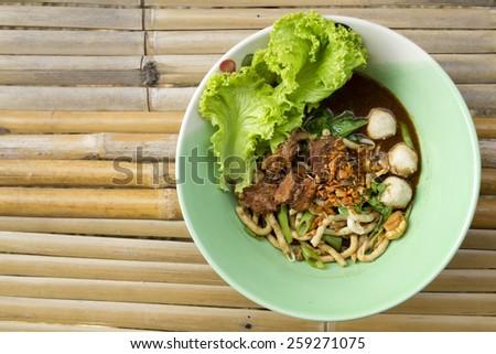 Braised Pork Noodles,Udong line,Thai Noodle - stock photo