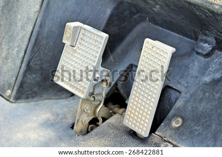 Brake and accelerator pedal for cars. - stock photo