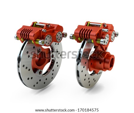 Brake Disc and Red Calliper from a Racing Motorbike isolated on white