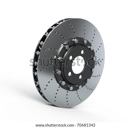 Brake disc isolated on white - 3d render - stock photo