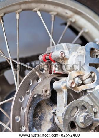 Brake disc of a motorbike - stock photo