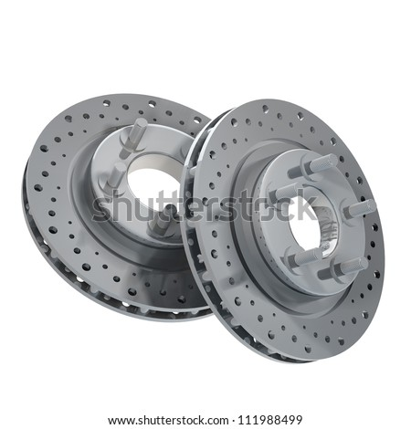 Brake Discs isolated on white background 3d render - stock photo