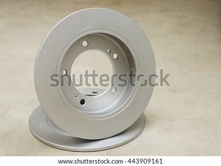 Brake discs on a white background