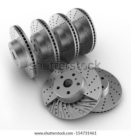 brake discs on white background  - stock photo