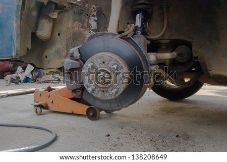 brake disk and Used Car Break detail with tire removed