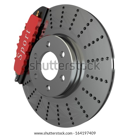 Brake disk with a red support. isolated. white background. 3d