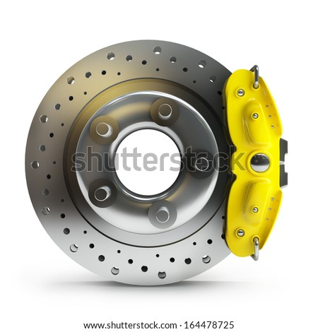 brake disk with a yellow support. isolated on white background High resolution 3d  - stock photo