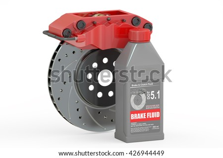 Brake Fluid with Disk Brake, 3D rendering isolated on white background - stock photo