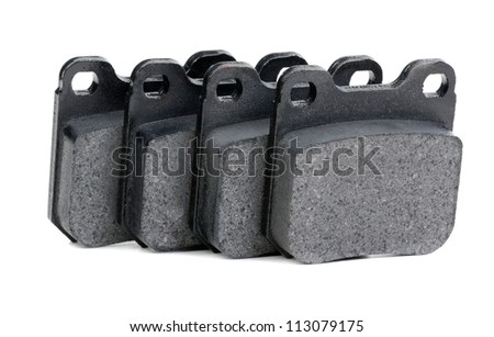 brake pads closeup isolate on white background - stock photo