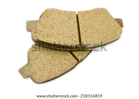 Brake pads for passenger car isolated on white background - stock photo
