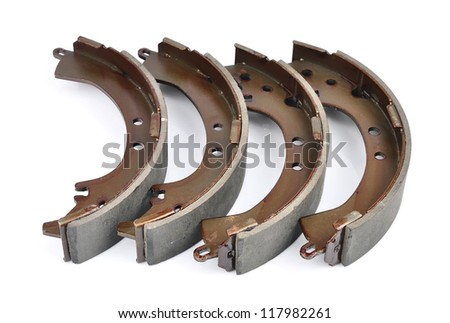 brake shoes. on a white background - stock photo