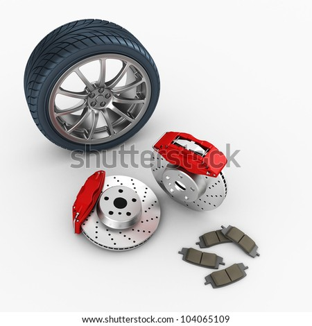 brake system and car wheel on white background. 3d render. - stock photo
