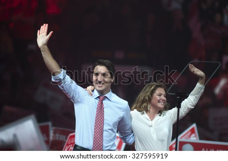 BRAMPTON - OCTOBER 4 :Justin Trudeau and his wife Sophie Grégoire during an election rally of the Liberal Party of Canada on October 4, 2015 in Brampton, Canada. - stock photo