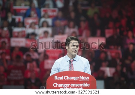 BRAMPTON - OCTOBER 4 :Justin Trudeau delivering a speech during an election rally of the Liberal Party of Canada on October 4, 2015 in Brampton, Canada. - stock photo