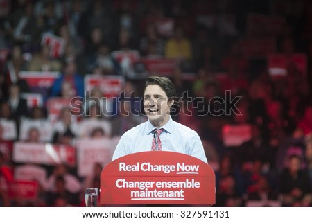 BRAMPTON - OCTOBER 4 :Justin Trudeau delivering a speech in front of  2015 election follwers during an election rally of the Liberal Party of Canada on October 4, 2015 in Brampton, Canada.