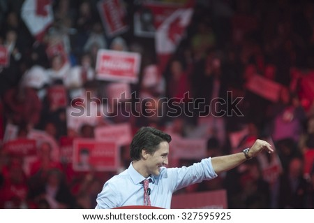 BRAMPTON - OCTOBER 4 :Justin Trudeau gesturing during an election rally of the Liberal Party of Canada on October 4, 2015 in Brampton, Canada. - stock photo