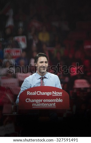 BRAMPTON - OCTOBER 4 :Justin Trudeau sharing a smile during an election rally of the Liberal Party of Canada on October 4, 2015 in Brampton, Canada. - stock photo