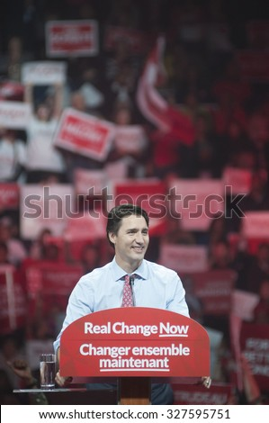 BRAMPTON - OCTOBER 4 :Justin Trudeau smiling while delivering a speech during an election rally of the Liberal Party of Canada on October 4, 2015 in Brampton, Canada. - stock photo