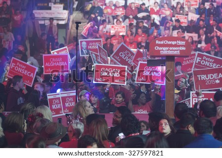 BRAMPTON-OCTOBER 4:Supporters of Liberal party of Canada at the Powerade Centre waiting for Justin Trudeau during an election rally of the Liberal Party of Canada on October 4,2015 in Brampton,Canada. - stock photo