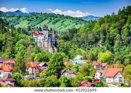 Bran Castle, Brasov, Romania. Medieval fortress at the border between Wallachia and Transylvania. It is also known for the myth of Dracula. - stock photo