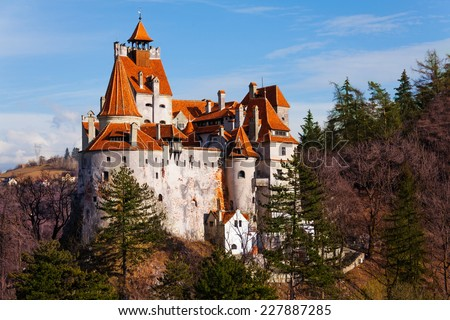 Bran Castle (Dracula castle) in Transylvania and Wallachia from hilltop in Romania - stock photo