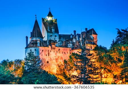 Bran Castle, Romania. Medieval fortification in Transylvania, known for Dracula myth. Brasov County, Romania. - stock photo