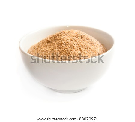 bran in a bowl isolated on white background - stock photo