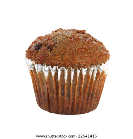 bran muffin isolated on white background