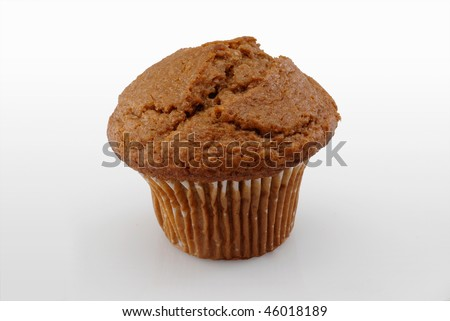 Bran muffin isolated on white background with clipping path - stock photo